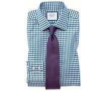 Bügelfreies Slim Fit Hemd in Blaugrün