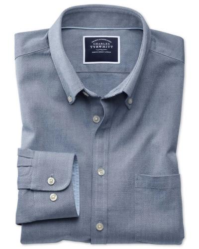 Slim Fit Oxfordhemd in Denimblau Knopfmanschette