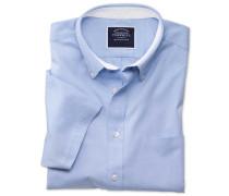 Kurzärm Slim Fit Oxfordhemd in Himmelblau