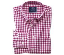 Bügelfreies Classic Fit Hemd aus Popeline in Rot