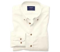 Extra Slim Fit Twill-Hemd in schlichtem AltWeiß