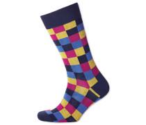 Socken mit bunten Karos in Rosa und Gelb