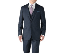 Slim Fit Businessanzug Sakko aus Fil-à-Fil in Blau