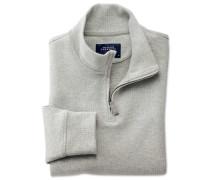 Jersey Pullover mit halben Reißverschluss in Hell