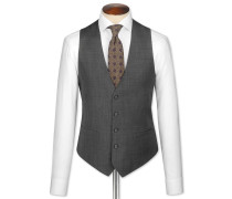Slim Fit Reiseanzug Weste aus Sharkskin in Grau