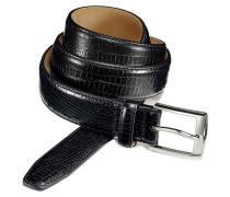 Gürtel in Schwarz mit geprägten Kroko-Design