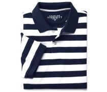 Piqué-Poloshirt in Blau und Weißen Streifen