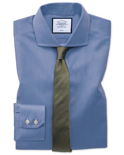 Slim Fit Hemd mit Haifischkragen in Königsblau