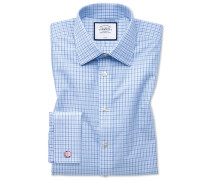 Classic Fit Popeline-Hemd in Blau und Himmelblau