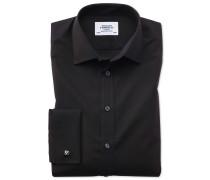 Classic Fit Popeline-Hemd in Schwarz