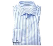 Extra Slim Fit Twill-Hemd in Weiß und Himmelblau