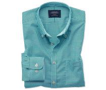 Extra Slim Fit Oxfordhemd in Grün in Gingham-Karos