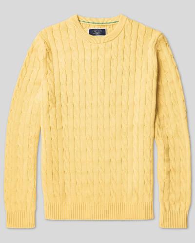 Pullover aus Pima-Baumwolle mit Zopfmuster - Gelb