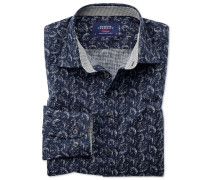 Extra Slim Fit Hemd in Dunkelblau mit Blatt-Print