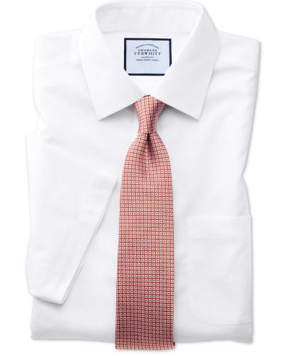 Bügelfreies Classic Fit Popeline-Kurzarmhemd