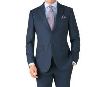 Slim Fit Business Anzug Sakko aus Twill in Blau