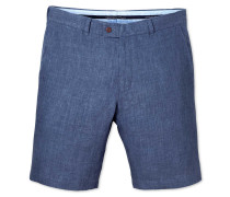 Slim Fit Leinen-Shorts in Blau