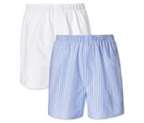 2er Pack Boxers in Himmelblau und Weiß