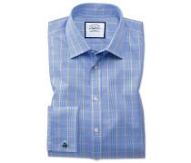 Bügelfreies Slim Fit Hemd in Blau und Gold