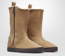 WINTER LAGOON STIEFEL AUS SHEARLING IN CAMEL MIT INTRECCIATO DETAILS