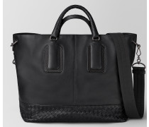 TOTE BAG AUS FRENCH CALF NERO