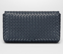 MITTLERE CLUTCH AUS INTRECCIATO NAPPA IN DENIM