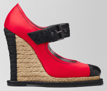 KEILSANDALE ESPADRILLE AUS SATIN CHINA RED