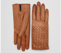 HANDSCHUHE AUS NAPPA IN DARK LEATHER MIT INTRECCIO DETAILS