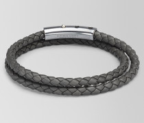 ARMBAND AUS INTRECCIATO NAPPA IN NEW LIGHT GREY UND SILBER