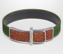 ARMBAND AUS KARUNGLEDER IN IVY MIT EMAILLE IN BROWN