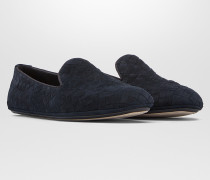 FIANDRA SLIPPER AUS WILDLEDER IN DARK NAVY INTRECCIATO