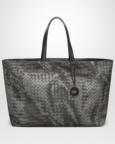 MITTLERE TOTE BAG AUS INTRECCIOLUSION IN NEW LIGHT GREY