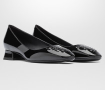 CHERBOURG PUMPS AUS KALBSLACKLEDER IN NERO MIT INTRECCIATO-DETAILS