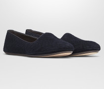 GONDOLIERA  SLIPPER AUS INTRECCIATO WILDLEDER IN DARK NAVY