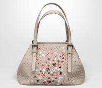 KLEINE MEADOW FLOWER TOTE BAG MIT INTRECCIATO MOTIV IN MINK