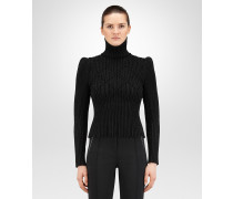 PULLOVER AUS WOLL-JACQUARD IN NERO