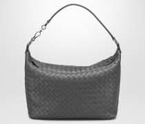 KLEINE SCHULTERTASCHE AUS INTRECCIATO NAPPA IN NEW LIGHT GREY