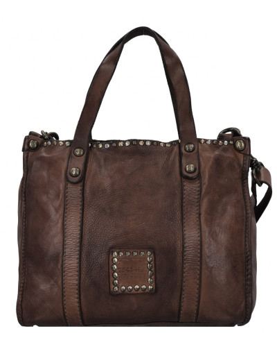 Campomaggi Damen Altea Handtasche Leder 25 cm moro