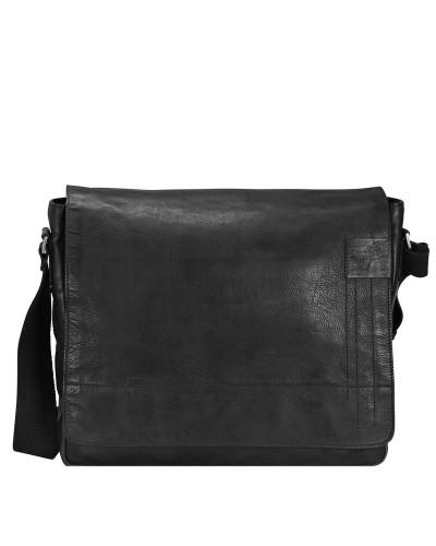 Strellson Herren Upminster Messenger Leder 39 cm Laptopfach black