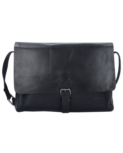 Strellson Herren Scott Messenger Tasche Leder 35 cm Laptopfach black