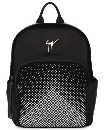 Leather backpack with silver studs CASCADE