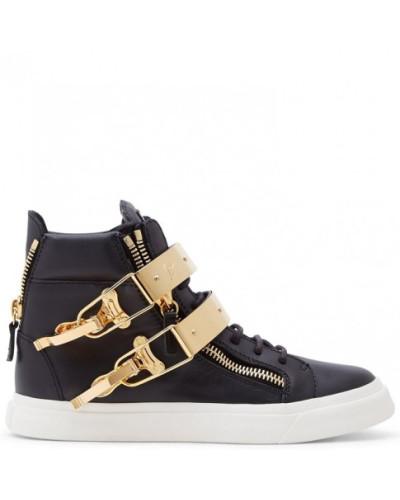 Giuseppe Zanotti Damen Black calf leather high-top sneakers SKYLAR