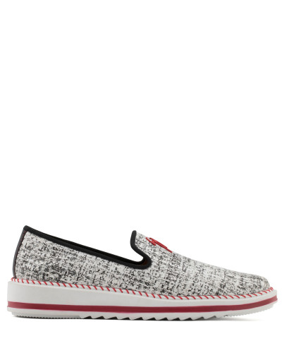 Black and white suede loafer with red signature TIM