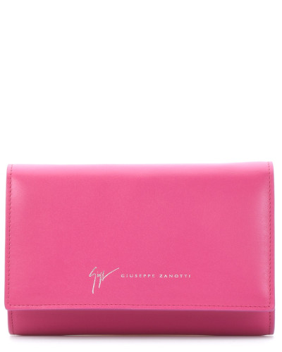 Leather clutch with signature KIMMY