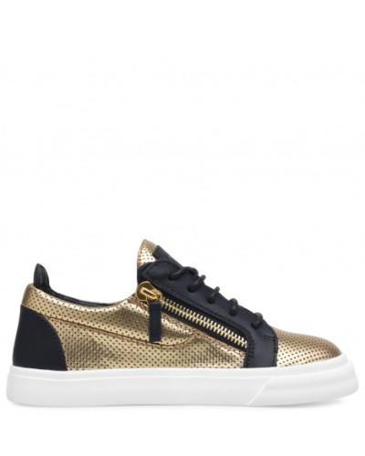 Giuseppe Zanotti Damen Gold printed leather low-top sneaker FRANKIE