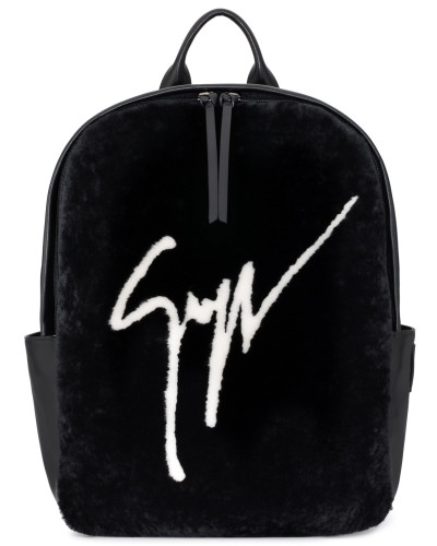 Shearling fur backpack with Signature CYRIL