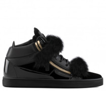 Black velvet mid-top sneaker with lapin fur KRISS WINTER