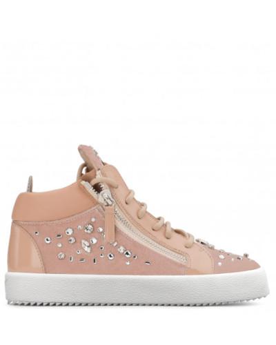 Giuseppe Zanotti Damen Pink velvet mid-top sneaker with crystals THE DAZZLING KRISS