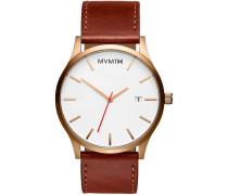 MVMT Herrenuhr Classic Rose Gold Natural Tan MM...