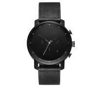 MVMT Herrenuhr Chrono Black Leather MC01-BL Mov...
